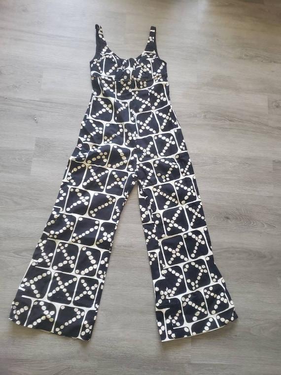 1960s groovy jumpsuit, SIZE XS, 60s bell bottom ju