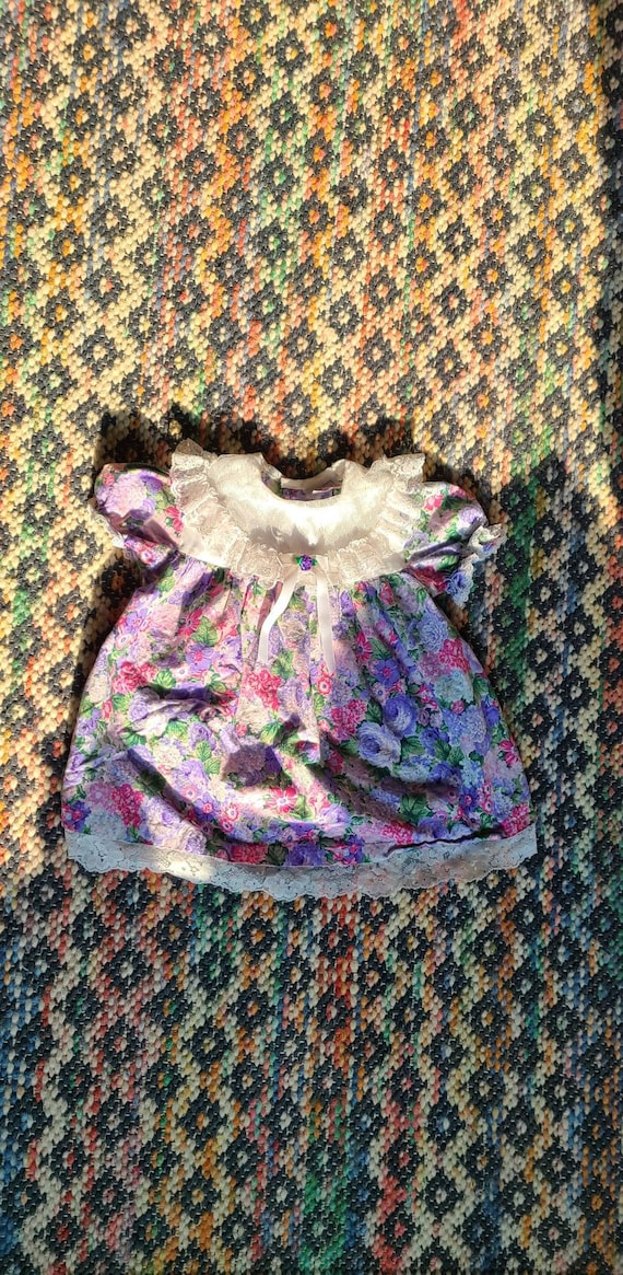 80s girls flowered puff sleeve dress, lace collar… - image 3