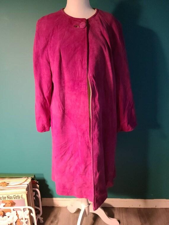 1960s suede swing coat, vintage suede swing coat,