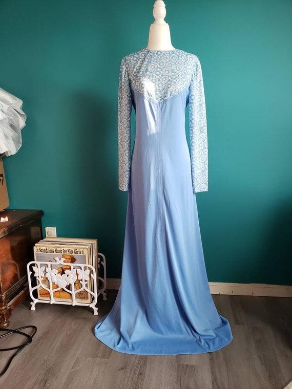 60s empire waist maxi dress, vintage maternity dre