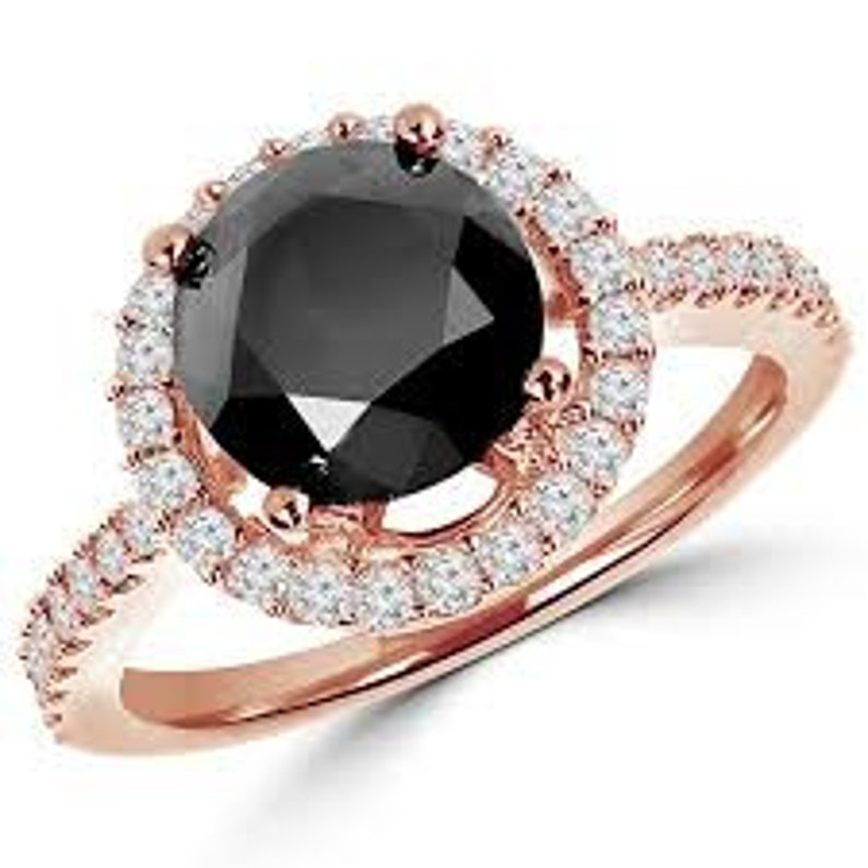 2.25Ct Certified Round Cut Black Diamond Solitaire Ring In image 0