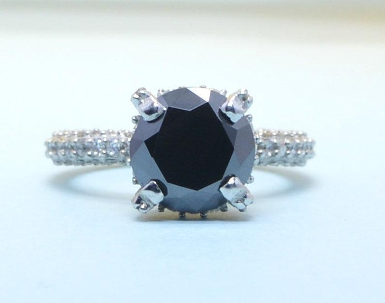 Women/'s 14kt white gold 3.50 ct Round brilliant black diamond Engagement with 0.80 white accent
