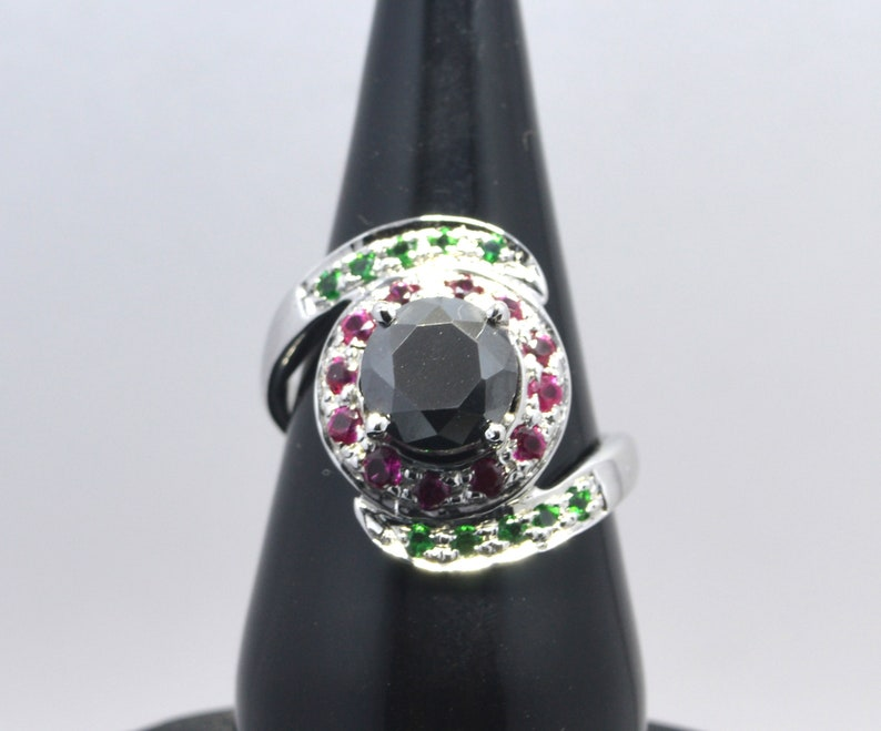3c Round Shape Black Diamond Solitaire Engagement Ring,Wedding Ring With Ruby and Panna Accents
