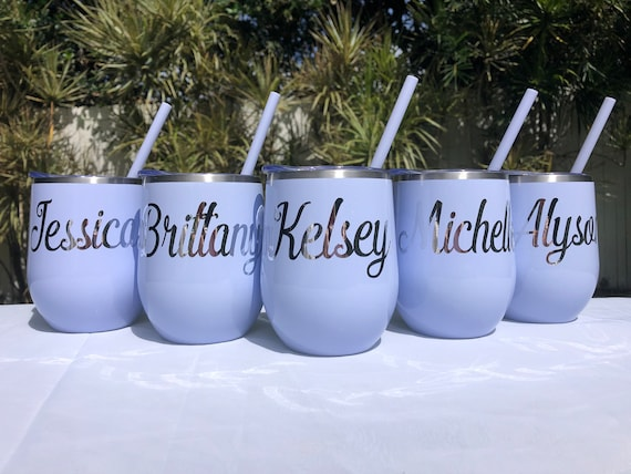 Wine Tumbler with Lid /& Straw Maid of Honor Gift Personalized Wine Cup Glitter Name Wine Tumbler