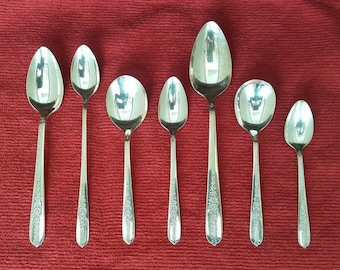 ROYAL ROSE 1939 Nobility Lg 8 Floral Silver Serving Spoon inch Vintage Silver Plate Silverware Wedding Shower Anniversary Gift