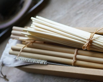 Bambou,reed,straw,3 different straws mixed + brosse vegetale. Zero déchets straw packet - Réutilisables