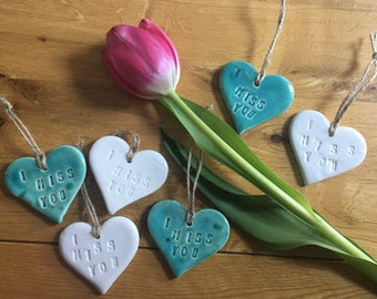 """Ceramic Hanging Hearts """"I Miss You"""" & """"I Love You"""".  Letterbox Gifts.  Send love, hugs and smiles to those special people in your lives."""