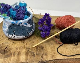 Handthrown Yarn bowls, Cheeky Whale, Fun, Wool Bowl, Wool, Knitting, Crocheting Bowl, knitter