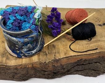 Handthrown Yarn bowls, gorgeous Blue glazes, Wool Bowl, Wool, Knitting, Crocheting Bowl, knitter