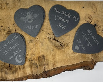 Natural Slate Heart Coasters, Valentines, Anniversary,Bee, I Love You To the Moon & Back