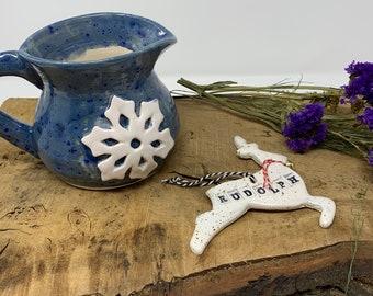 Christmas Snowflake Jug, Let it Snow, Tableware, pitcher, Blue, White, Crackle
