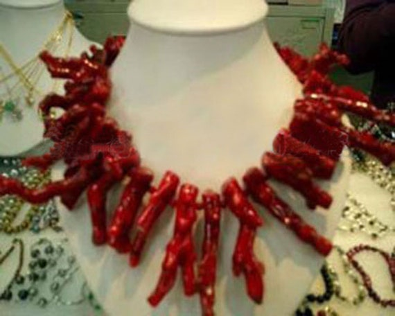 Red 8*40mm GENUINE Natural Branch Coral Necklace for Women Long Necklace 20/""