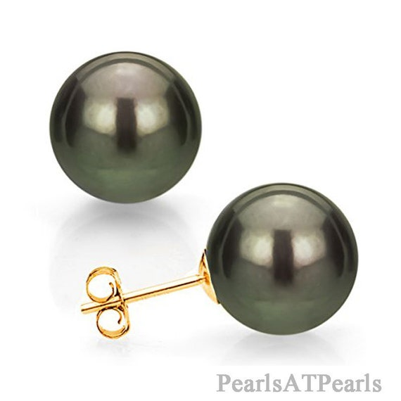 Huge AAA 12x14MM natural south sea white drop pearl earrings 14K YELLOW GOLD
