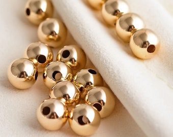 Through Hole 14K Genuine Solid Gold Ball Spacer Bead For DIY Jewelry Bracelet and Necklace