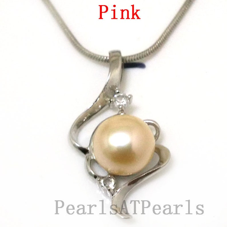 18 inches Double Zirconia Heart Style 10-11mm Natural Freshwater Button Pearl 925 Sterling Silver Pendent Necklace