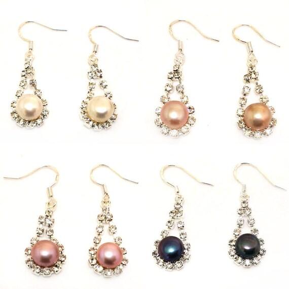 Real 8-9mm Natural black Pearl 925 Sterling Silver Women Drop Zircon Earrings