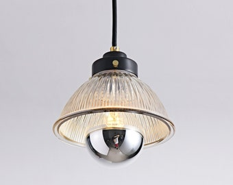 Black Gold Pendant With Tinted Glass Bowl Shade - Modern Kitchen Island and Bedroom Lighting - Mid Century Industrial Lighting - BONNIE
