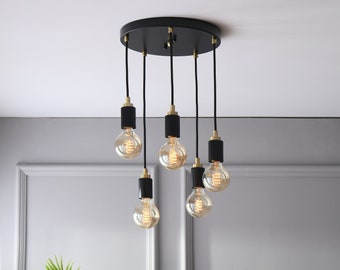 5 Light Spiral Mini Pendant Cluster Chandelier - Industrial Modern Dinning Kitchen Island Lighting - Mid Century Exposed Bulb Hanging Lamp