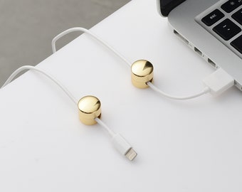 Gold Cable Organizer - Cord Keeper Management System For Home Office Desk, Nightstand, Wall and Car - Gift for Him, Her And Students - 2PCS