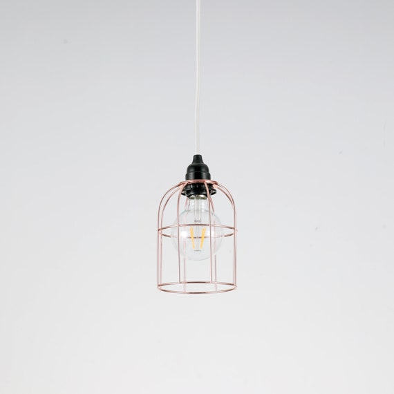 Rose Gold Industrial Wire Bulb Cage Pendant Light Modern Ceiling Light Fixture Looks Great Over Dining Tables Bars Kitchen Islands
