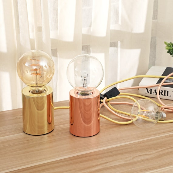 Minimalist Cylindrical Table Lamp Gold Edison Exposed Bulb Desk Decor Lamp Mid Century Industrial Modern Accent Indoor Home Lighting