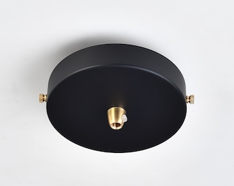 Black 4.7in Ceiling Canopy With Brass - Plug-In To Hardwire Pendant Light Conversion Kit - DIY Lighting Lamp Parts - 1 to 3 Port Options