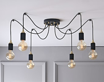 6-Light Spider Pendant Chandelier With Gold Top - Industrial Modern Dinning And Kitchen Lighting - Mid Century Exposed Bulb Lamp Fixture