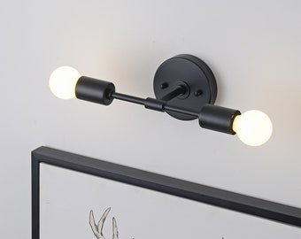 2 Light Black Wall Sconce - Modern Minimalist Bathroom Vanity & Hallway Lighting - Mid Century Industrial Exposed Bulb Wall Lamp - BROOKLYN
