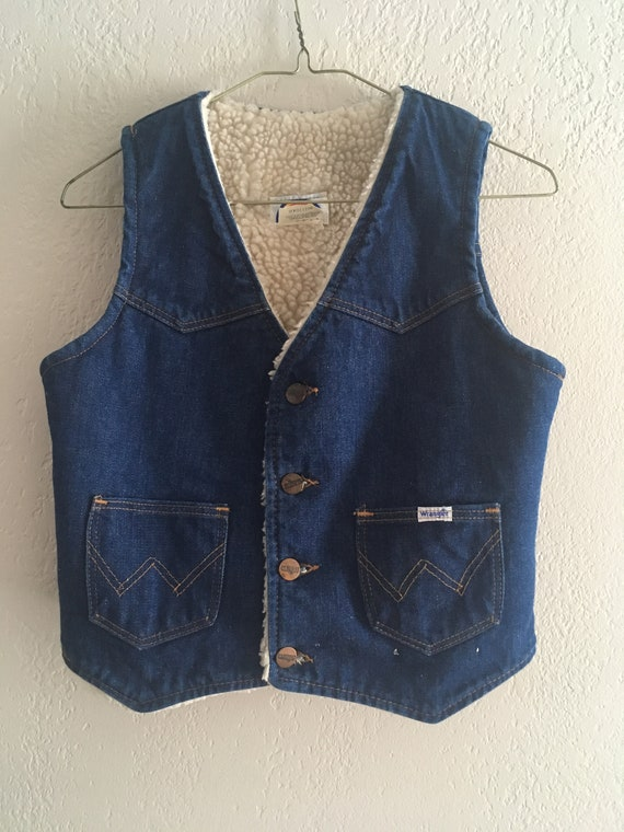 Vintage 70s Wrangler Denim Sheepskin Lined Vest