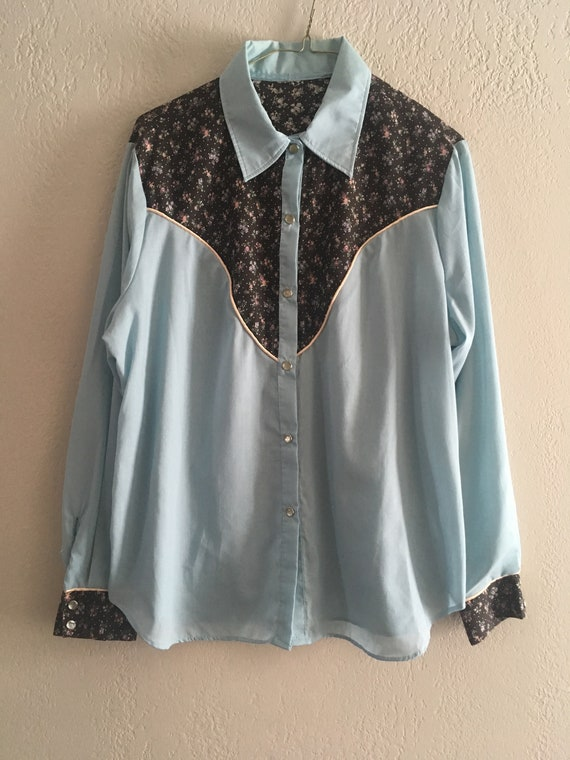 Vintage 70s Western Prairie Pearl Snap Shirt Women
