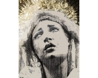 Pacific Giftware Our Lady of Sorrows Wood Base with Brass Name Plate Home Decor