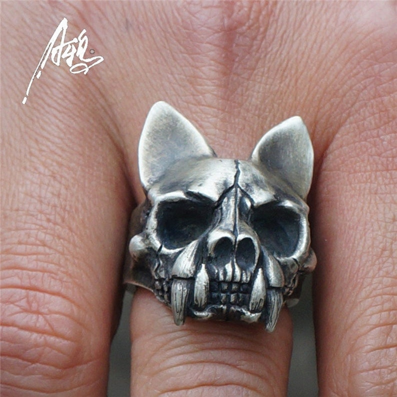 Pagoda Cat Skull Ring  925 Sterling Silver Ring  Vintage Image   Broken face  Raven Ring  Dog Animal Ring