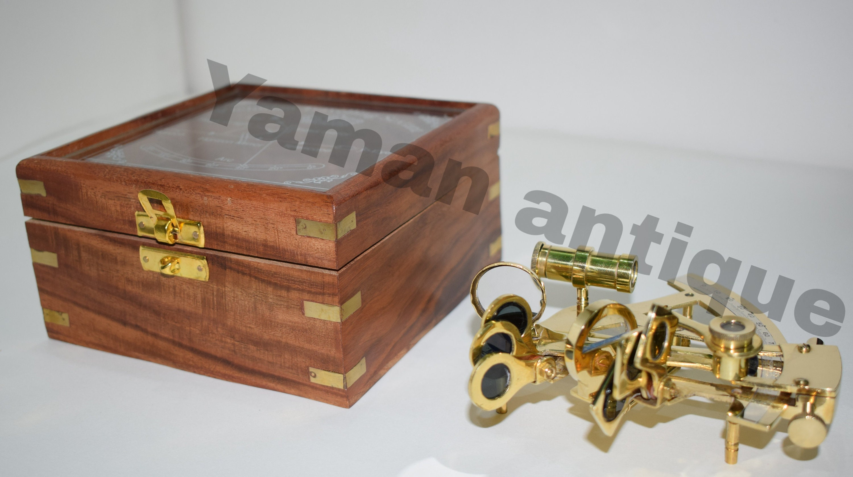 Laiton Laiton Laiton nautique Sextant Sextant de polonais en laiton de 4 pouces avec boîte en bois 262245