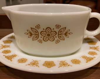 Vintage Pyrex Butterfly Gold gravy boat and underplate set
