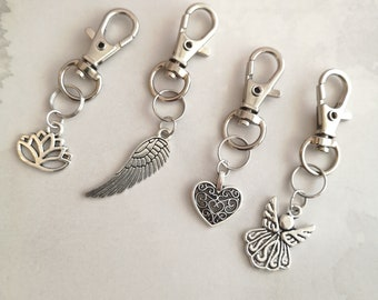Set of 4 purse charms, heart handbag charm, zipper pulls, keyring, purse charm, small gift, angel gift, bucket bag charms, women pouch charm