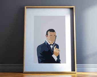 Sean Connery Poster Hollywood Celebrity Famous Actor James Bond 007 Icon Movie