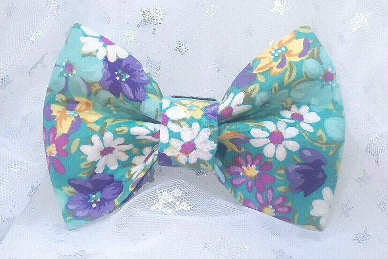 Turquoise with Flowers Dog Bow Tie
