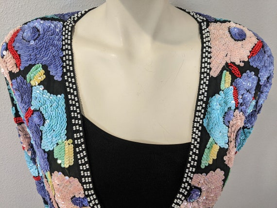 80s Rare Large Floral Sequins Jacket, Vintage Jew… - image 7