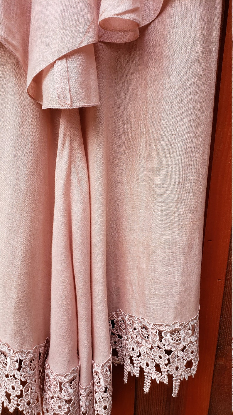 Victorian Inspired Small Linen Gown Rare Capriccio by Digna Pink Lace Dress with Peplum Skirt
