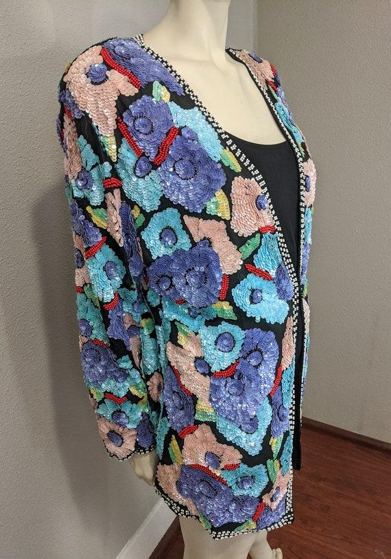 80s Rare Large Floral Sequins Jacket, Vintage Jew… - image 6