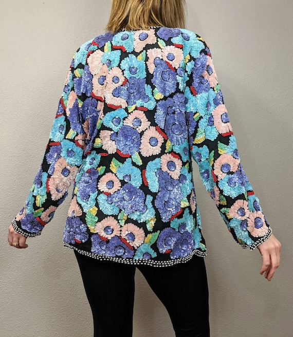 80s Rare Large Floral Sequins Jacket, Vintage Jew… - image 2