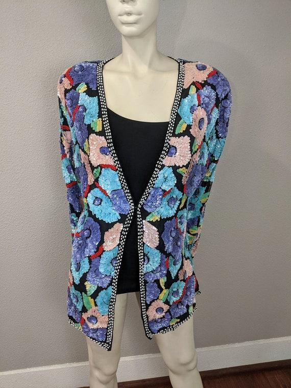 80s Rare Large Floral Sequins Jacket, Vintage Jew… - image 3