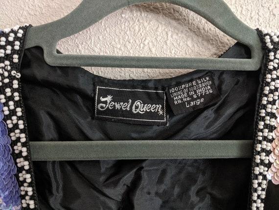 80s Rare Large Floral Sequins Jacket, Vintage Jew… - image 10