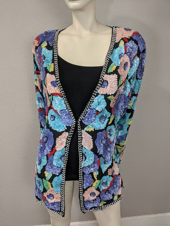 80s Rare Large Floral Sequins Jacket, Vintage Jew… - image 5