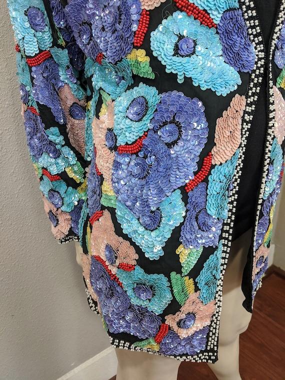 80s Rare Large Floral Sequins Jacket, Vintage Jew… - image 8