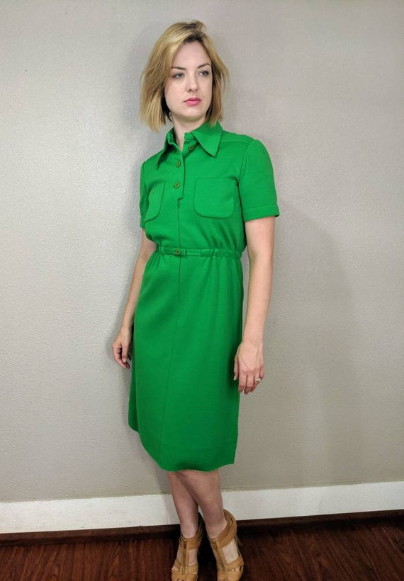 1940s Nina Ricci Bright Green Dress Couture, High-