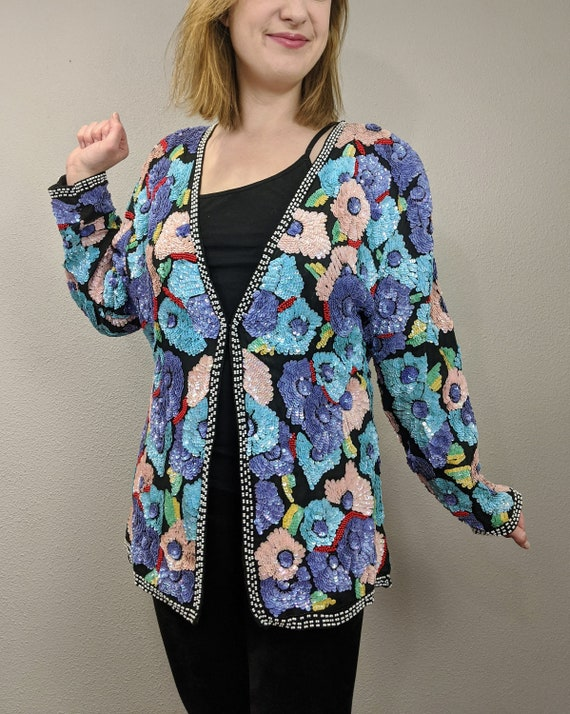 80s Rare Large Floral Sequins Jacket, Vintage Jew… - image 1