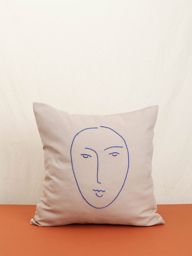 Camellia Cotton cushion cover embroidered by hand cotton image 0