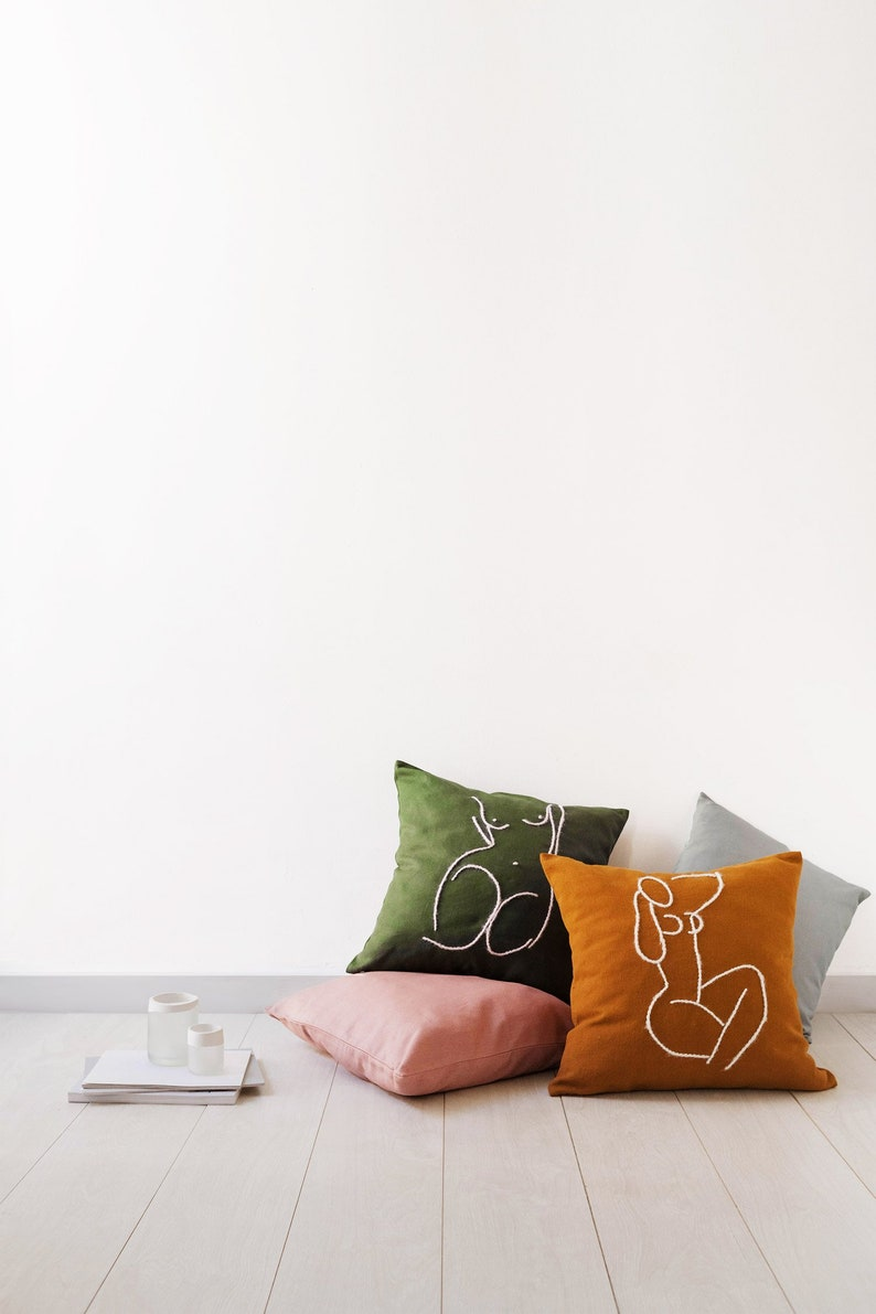 2 . Iris & Magnolia  Cotton cushion embroidered by hand with image 0