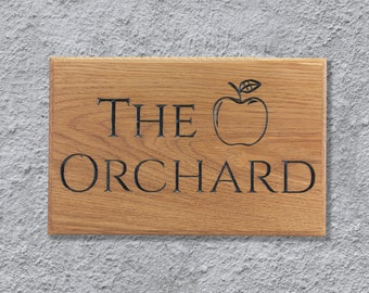 Personalised Solid Oak Deep Engraved House Name Plaque